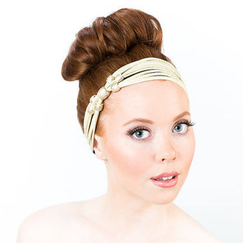 White And Gold Headband, Gold Beaded Headband, Beaded Headbands For Women, Gold Sparkle Headband, Beaded Hair Accessories For Women