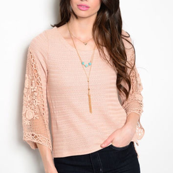 Dusty Nude Peach Crochet Top