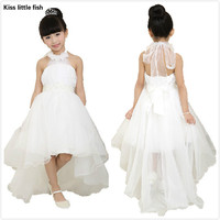 Free shipping Flower girl dresses for weddings Elegant trailing gown  Fast shipping Girls princess dress