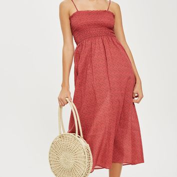 Ditsy Shirred Maxi Dress