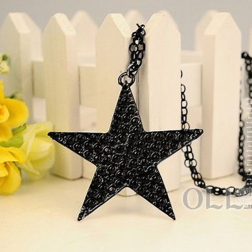 Vintage Brve Men's Women Balck Star Necklace Cool Jewelry Valentine 's Day Gift for men Gift