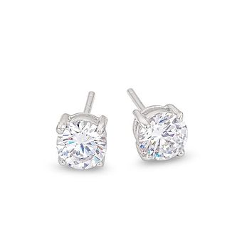6mm Sterling Silver Round CZ Stud Earrings - Clear