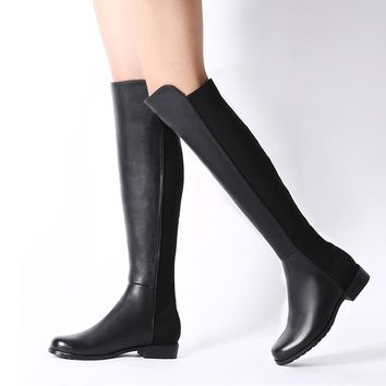 Women Stretch Suede Over the Knee Boots Flat Thigh High Boots Sexy Fashion Plus Size S