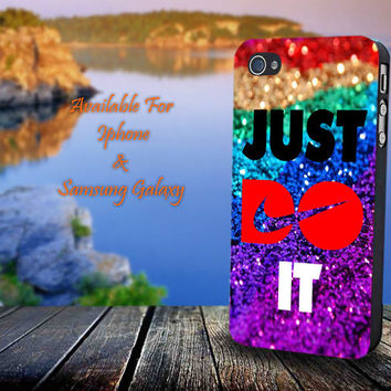Nike Just Do It Glitter - Print on hard plastic for iPhone case. Please choose the option.