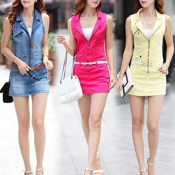 High Quality Spring Summer Bodycon Casual Women Denim Dress Sexy Mini Sleeveless Sheath Jeans Dresses