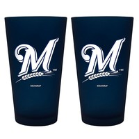 Milwaukee Brewers 2-pc. Color Frosted Pint Glass Set (Blue)