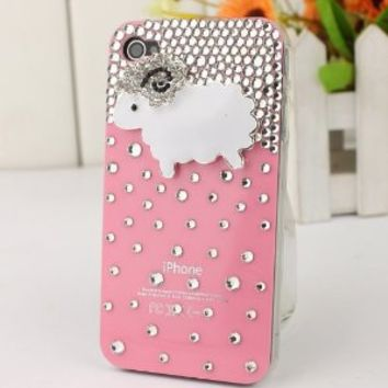 3D Bling Crystal iPhone Case for AT&T Verizon Sprint iPhone 4/4S Pink Sheep