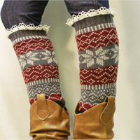 leg warmers Ski sweater snowflake pattern 3 colors / womens   great with boots by Catherine Cole Studio legwarmers
