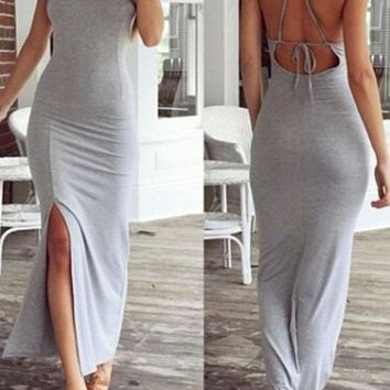 Gray Backless Side Slit Maxi Dress