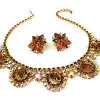 Juliana D&E Demi, Topaz Molded Givre Art Glass Leaf Rhinestones, Necklace and Earrings, Gold Tone Metal, Wedding Jewelry, Special Occasion