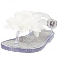 Infant / Toddler Girls Glitter & Sheer T-Strap Thong Jelly Sandals with Flower by Baby Deer