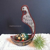 Vintage Painted Wood Spoon Rest Dish and Decorative Egg, Russian Toleware / Lacquerware