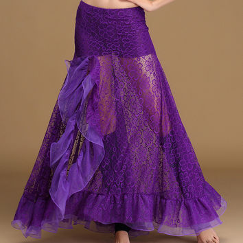 2017 Women Dancewear Belly Dance Clothes Full Circle 360 Degree Maxi Skirt Side Split Long Skirt Belly Dance Skirts Lace