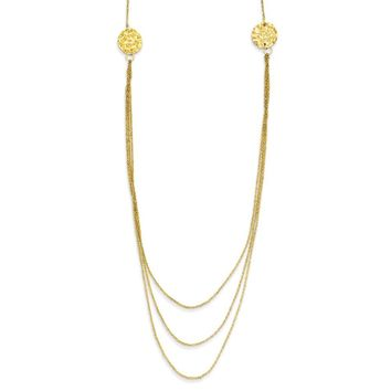 14k Yellow Gold 3 Layer Ropa Chain W/ 2in Ext Necklace
