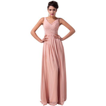 Dark Salmon Long Chiffon Prom Dress