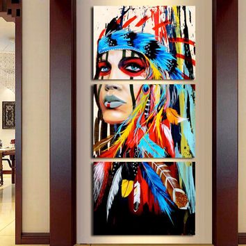 3 Pieces Native American Girl Feathered Women Modern Home Wall Decor Canvas Picture Art HD Print Painting On Canvas Artworks