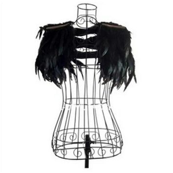 Gothic Punk Feather Angel Wings Shoulder Shawl