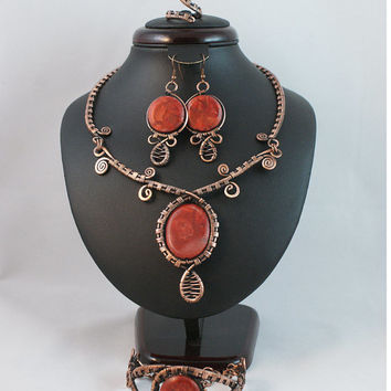 Copper jewelry set-coral jewelry set- earring-ring-necklace- bracelet-wire wrapped jewelry handmade
