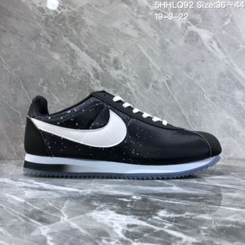 DCCK2 N1129 Nike Wmns Classic Cortez Nylon Prem Nightscape Star Crystal Bottom Running Shoes Black
