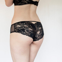 Sheer Black Tulle Panties with Scalloped Edge Lace Back. Romantic Lace Lingerie.