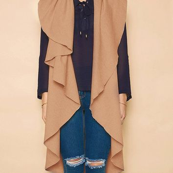 Khaki Wide Lapel Longline Sleeveless Jacket