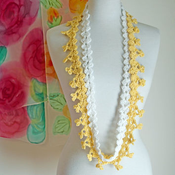 Lace Infinity Scarf - Multi Strand Necklace - Crochet - Buttercup Yellow and White