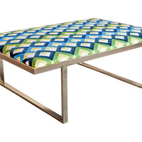 "Taylor Burke Home, Kelly 51"" Brass Coffee Table, Blue/Green, Cocktail Table"