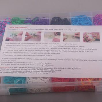 MOODPC Free ship 1set storage box rubber bands kit colorful loom bands set for bracelet bangle