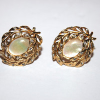 Womens Vintage Golden Earrings, Fifth Avenue Collection, Butler, Signed, Mother of Pearl, Rhinestone, Costume Jewelry
