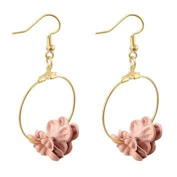 Lovely Fabric Colorful Flower Petal Circle Big Fancy Drop Earrings for Women by Ritzy