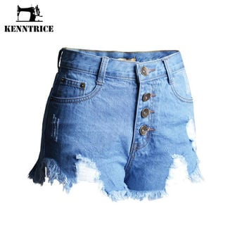 Summer Style Ultra shorts Hole Punk Rock Wash Hole Tassel High Waist Vintage Ripped Denim Shorts Open Buttons Pants