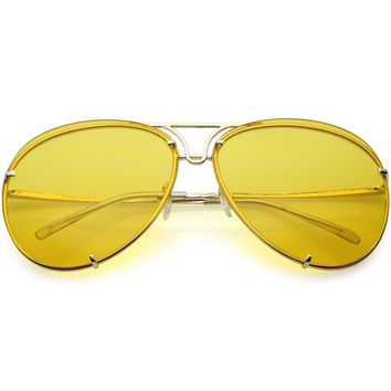 Oversize Rimless Aviator Sunglasses Unique Double Crossbar Color Tinted Lens 69mm