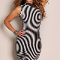 Black and Beige Stripes Collar High Low Maxi Dress