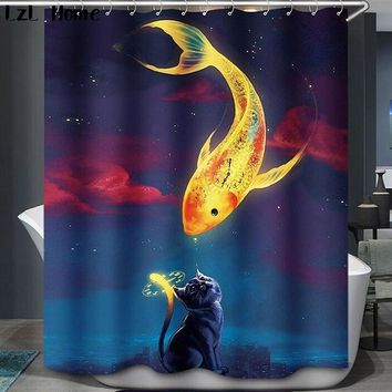 LzL Home Marine Life Waterproof Shower Curtain Dolphin Whale Goldfish Home Bathroom Curtains With 12 Hooks Polyester Curtains