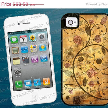 SALE 2 piece rubber lining iPhone case, iPhone 5 case - Antique Floral pattern iPhone 4 hard case, iPhone cover, iPhone hard case