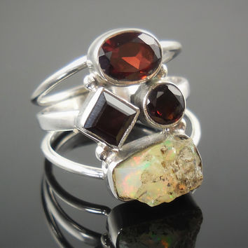 Garnet & Ethiopian Opal (Rough) Sterling Silver Ring - Size 8.5
