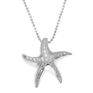 SOLID 925 STERLING SILVER HAWAIIAN SEA STARFISH SLIDE PENDANT CZ RHODIUM