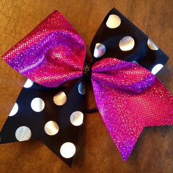 Cheer Bow - Pink with Black and Silver Polka Dot