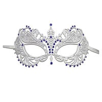 Luxury Mask Women's Laser Cut Metal Venetian Pretty Masquerade Mask WHITE W/ BLUE STONES