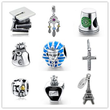 Fit Authentic pandora charms silver 925 original Antique Eiffel Tower Coffee cup Purse Cross Perfume bottle Bracelet Beads Gift