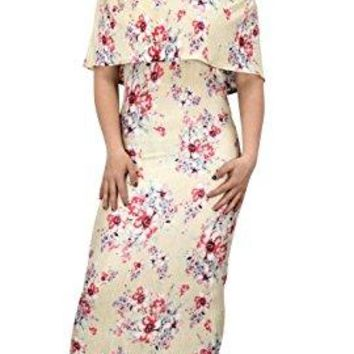 Peach Couture Womens Summer Gypsy Bohemian Vintage Floral Long Maxi Dress