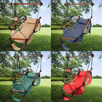 Deluxe Hanging Hammock Swing Chair with Hammock Footrest and Cup Holder