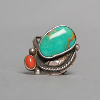 60s STERLING Silver RING / Large Turquoise & Coral Statement Piece