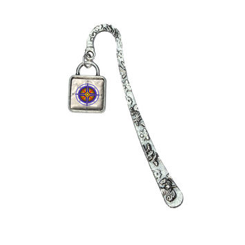 Compass Nautical North South East West Bookmark w- Square Silver Charm