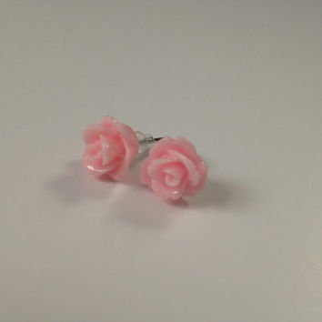 Rosette Earrings, Pink, Rose, Flower, Earrings, Bridesmaid gift, Gift, Stud Earrings, Ready to ship