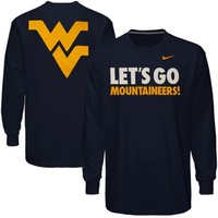 Nike West Virginia Mountaineers Let's Go Mountaineers Long Sleeve T-Shirt - Navy Blue