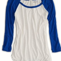 AEO Women's Zip-back Baseball T-shirt