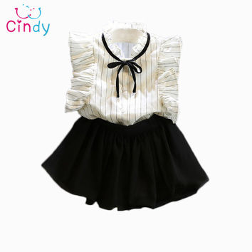2PCS/0-7Years/2016 Korean Fashion Kids Summer Toddler Clothes Baby Girl Princess Cute T-Shirt+Skirt Children Clothing Set