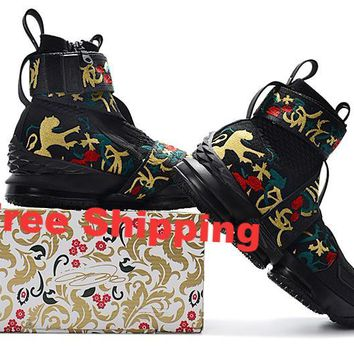 "Nike  LeBron James 15 XV  "" Flowers""Black / Gold Basketball Shoe"
