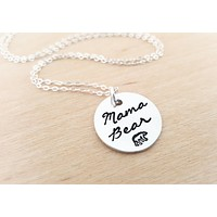 Mama Bear Necklace - Mama Bear Charm - Hand Stamped Jewelry -  - Sterling Silver Necklace - Simple Jewelry / Gift for Her